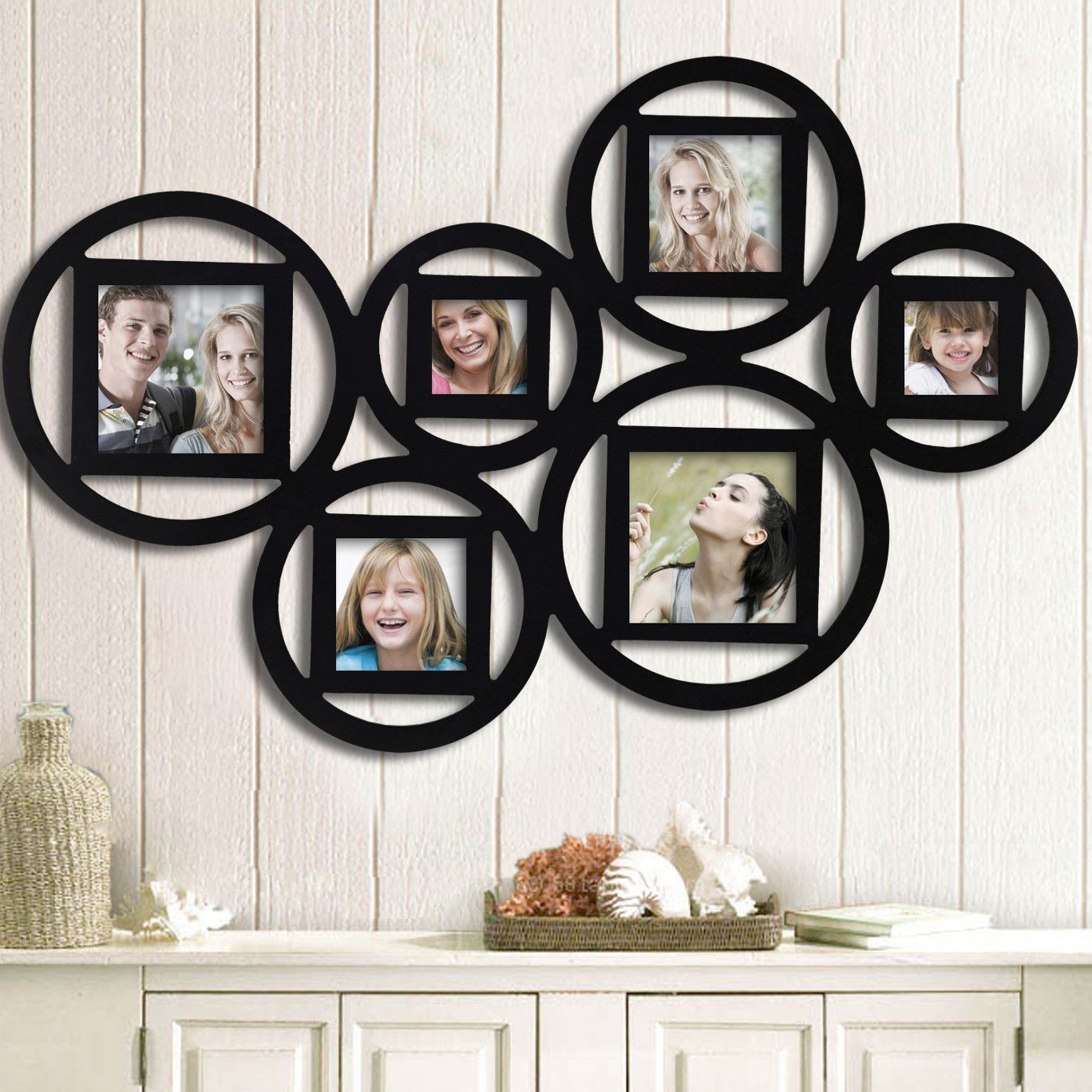 Adeco trading 6 opening decorative wall hanging collage