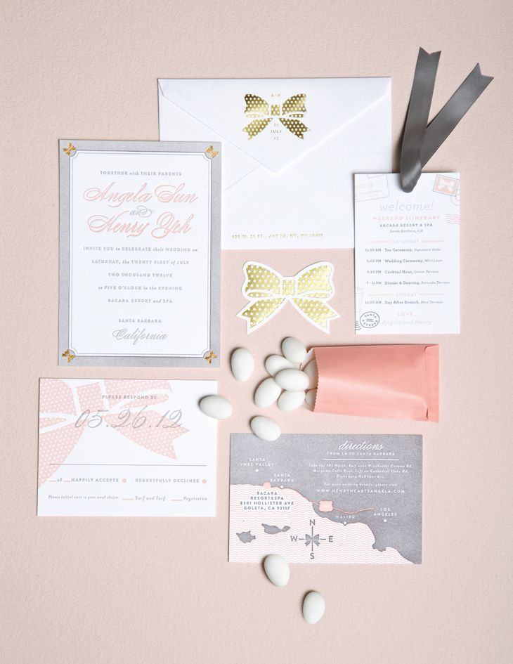 Gold Foil Wedding Invitations with Gold Bows | MaeMae | Pinterest ...