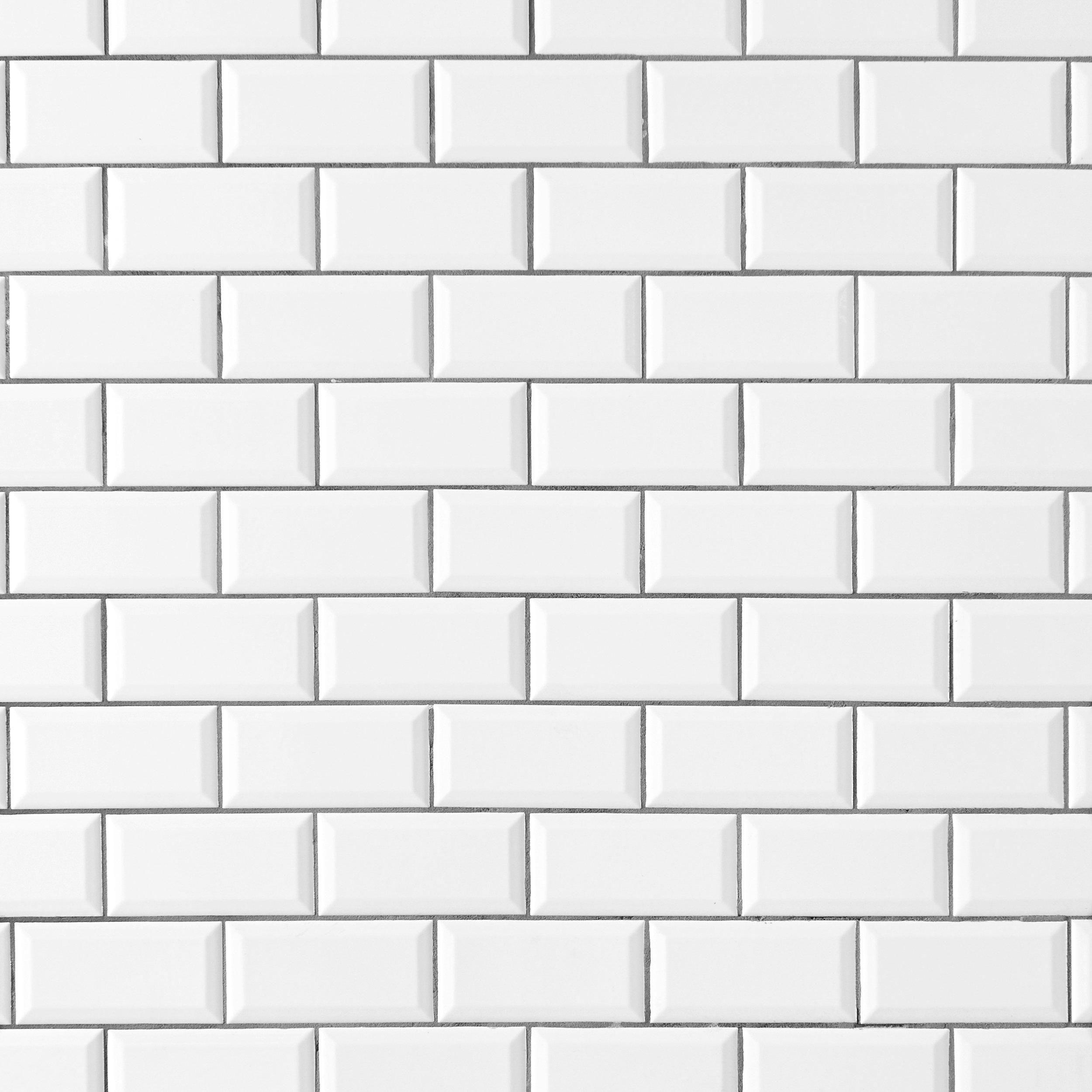 Bright White Ice Beveled Ceramic Wall Tile In 2019