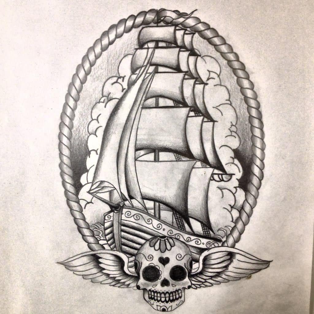 New school tattoo design - Oldskool Ship Tattoo Design By Dazzbishop On Deviantart Minus The Skull