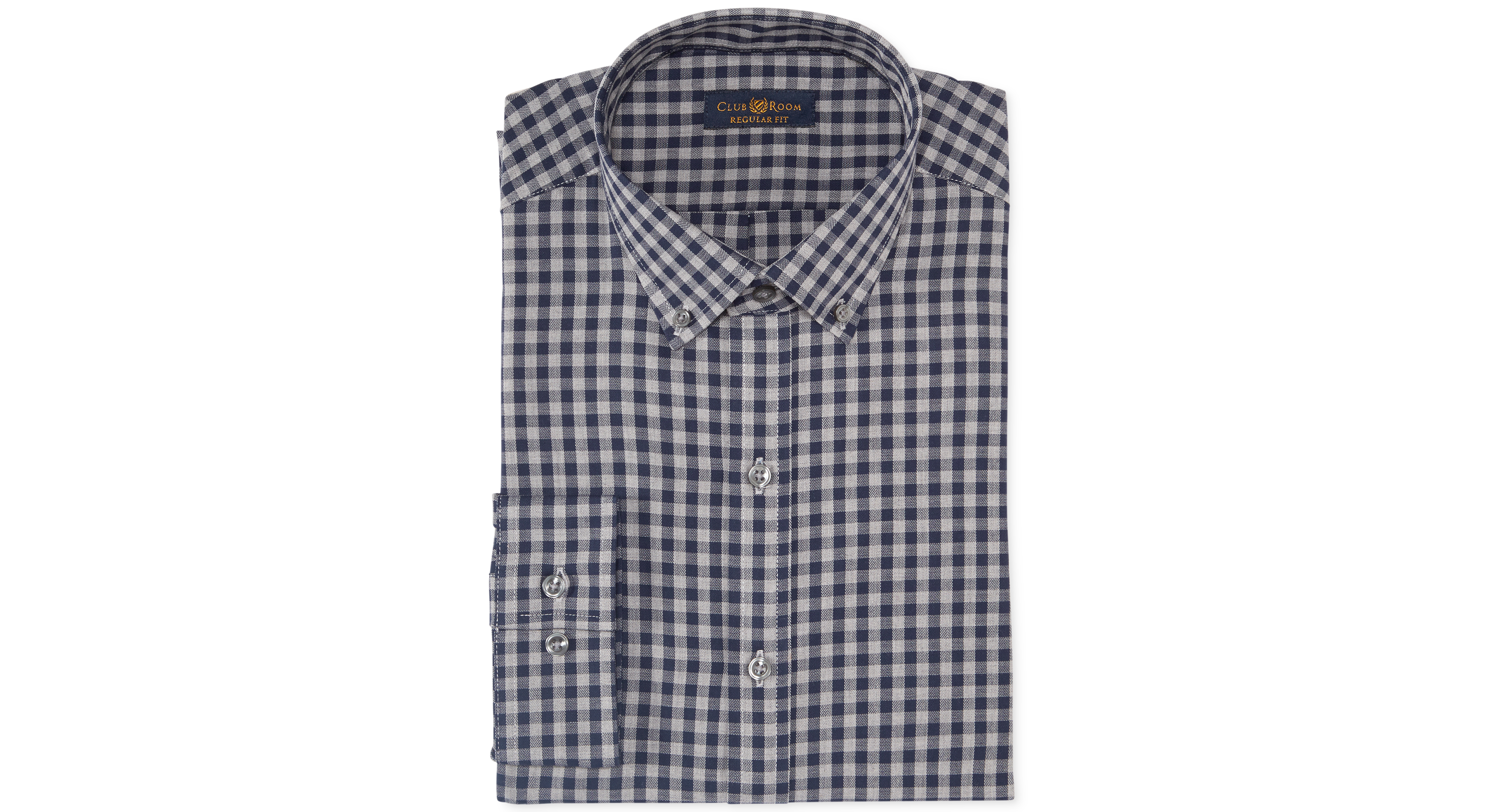 Club Room Estate Wrinkle Resistant Navy Heather Gingham Dress Shirt