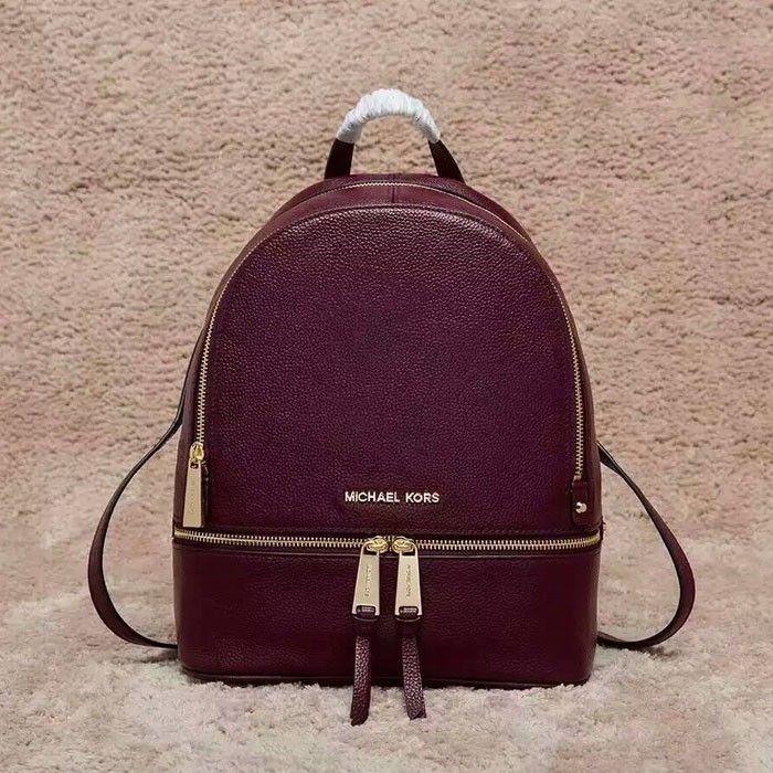 198aa588ac27 MICHAEL Michael Kors Rhea Medium Leather Backpack Burgundy | Michael ...
