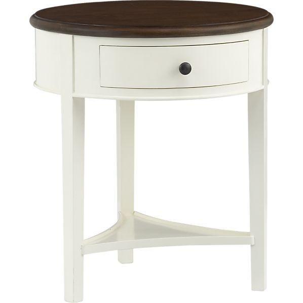 Round Wood Top Single Drawer White Nightstand Nightstand