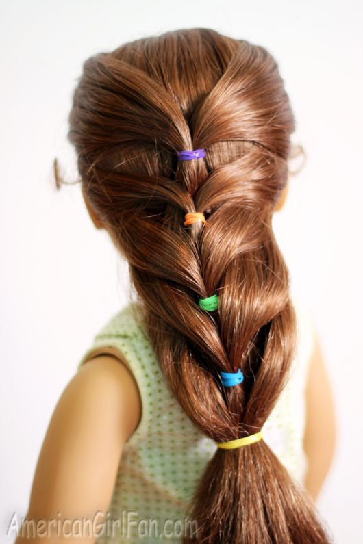 Doll Hairstyle: Rainbow French Ponytail! (AmericanGirlFan) | Doll ...