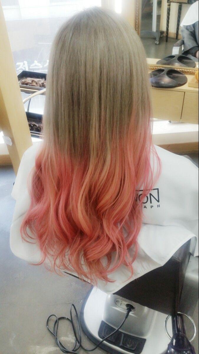 여자염색 투톤컬러 에쉬브라운 자몽핑크 그라데이션염색 압구정로데오 kjstyle 디자이너 보리 insta: borim_bori