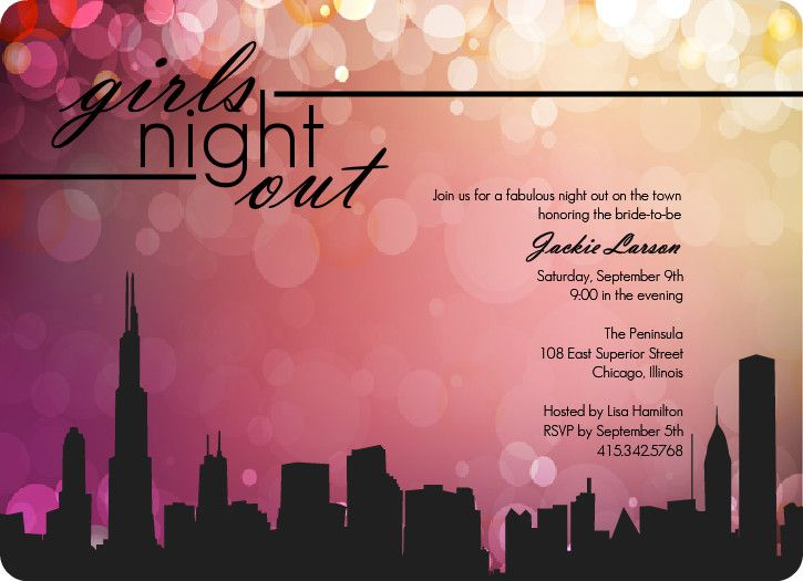 Girls Night In The City Bachelorette Party Invite – Bachelorette Party Invite Templates