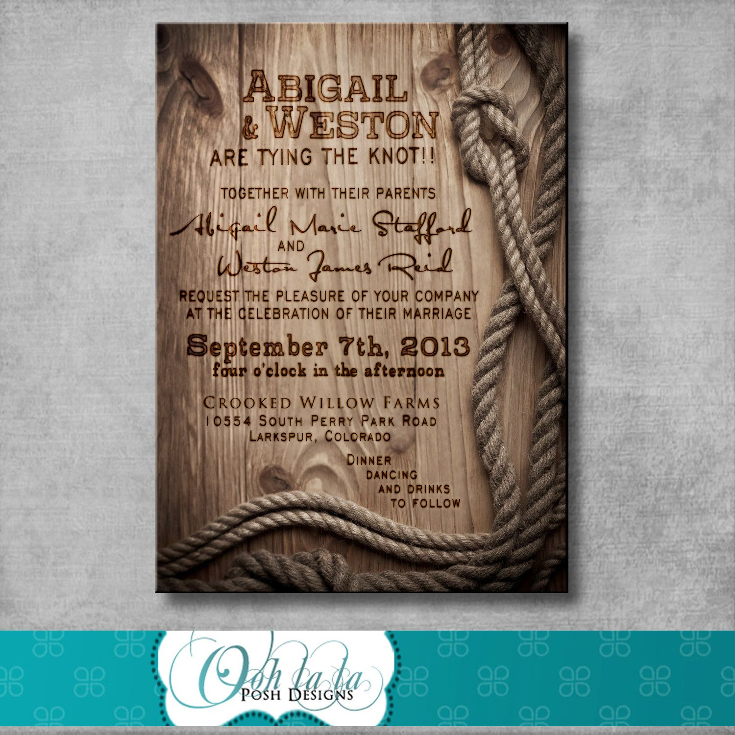 Printing Your Own Wedding Invitations: Rustic Wedding Invitation With Matching Response Card