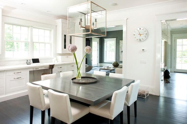 Chic Dining Room Features A 4Light Glass And Metal Lantern Brilliant Square Dining Room Set Inspiration