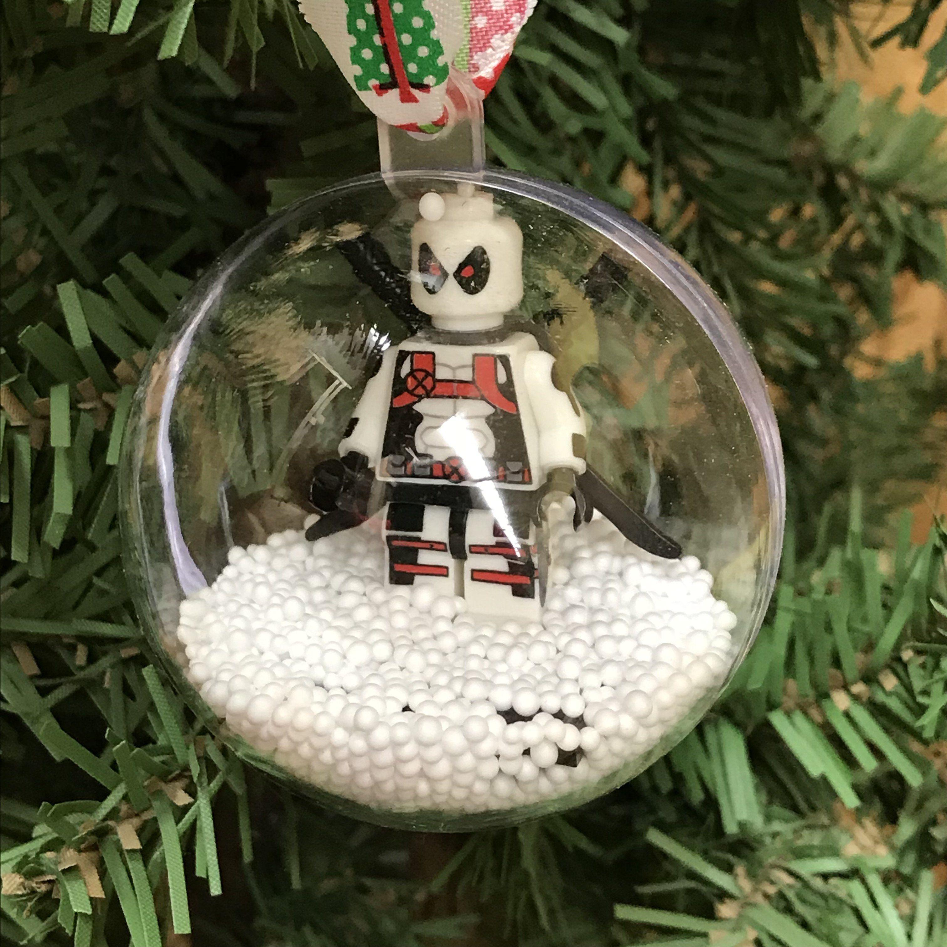 Holiday tree ornament marvel dc comic white deadpool lego figurine
