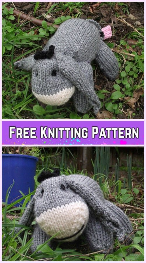 Knit Baby Eeyore Softies Animal Toy Free Knitting Pattern