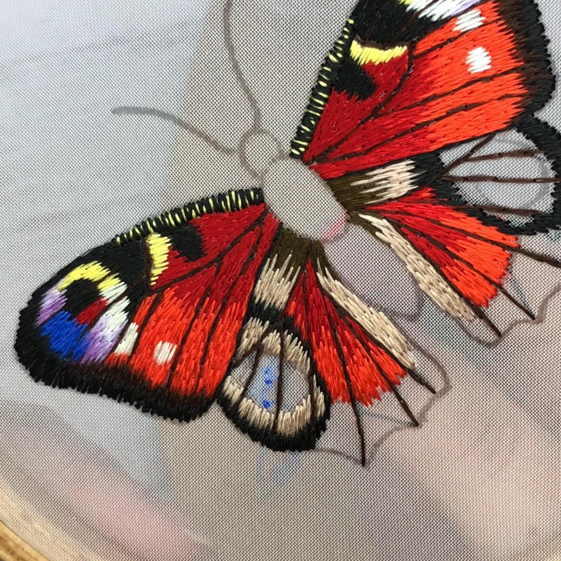 Digital hand embroidery Peacock butterfly PDF patt