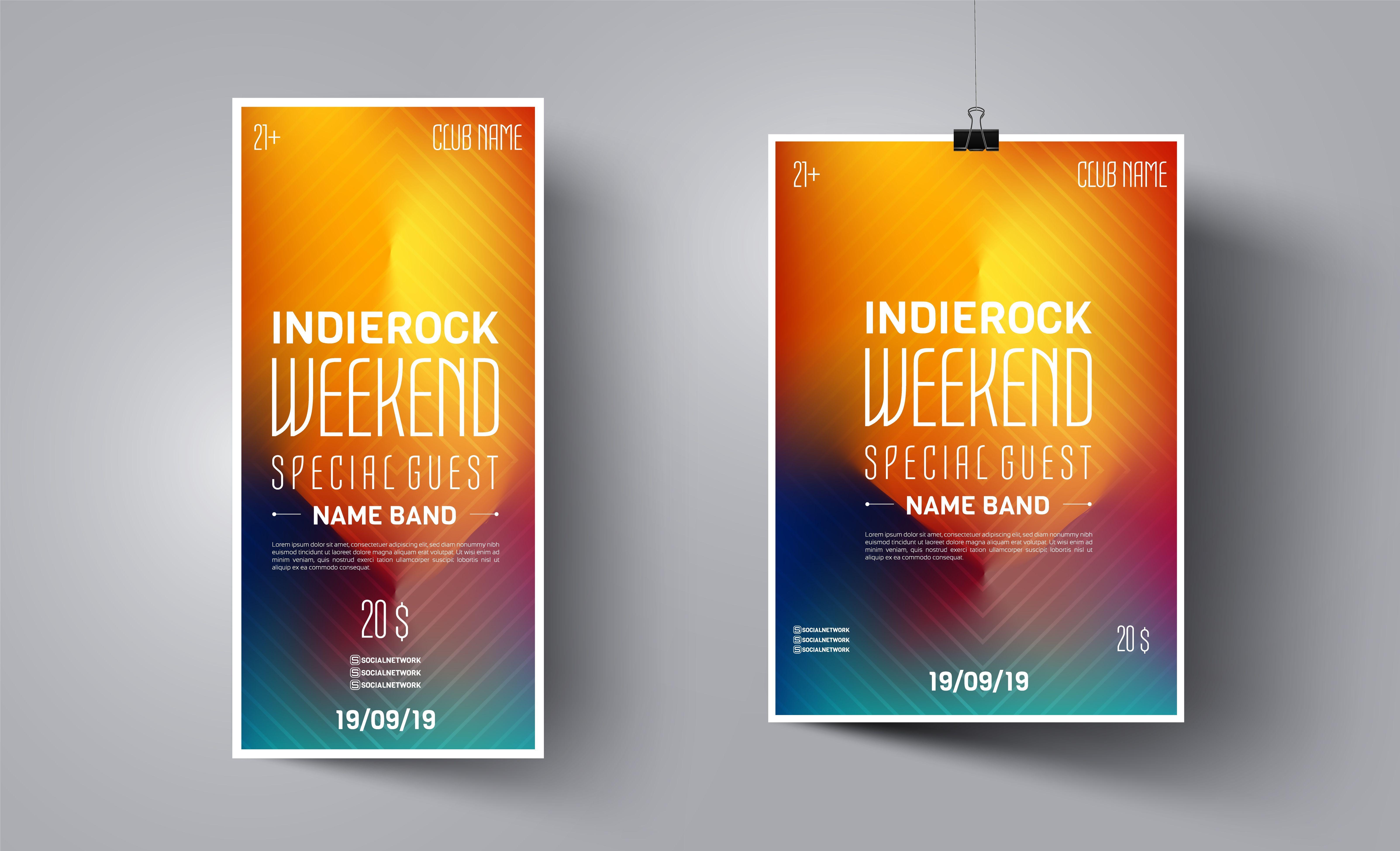 Poster Advertising Design Vector Illustration Club Dj Poster Music Dance Event Advertising Design Design Poster