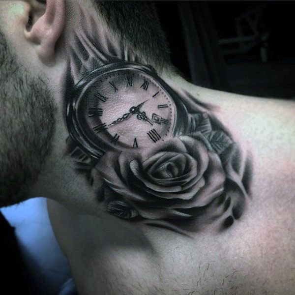 Lovely Rose And Pocket Watch Tattoo On Neck For Males Best Neck Tattoos Neck Tattoo For Guys Rose Neck Tattoo