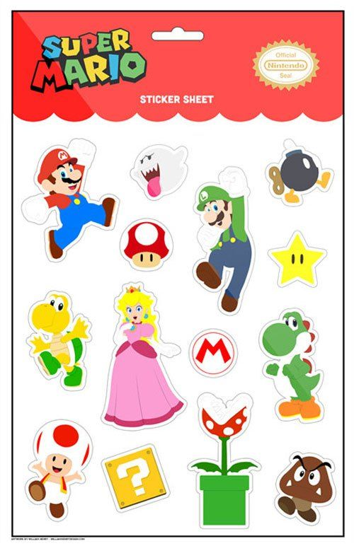 Super mario stickers sheet poster the retroist