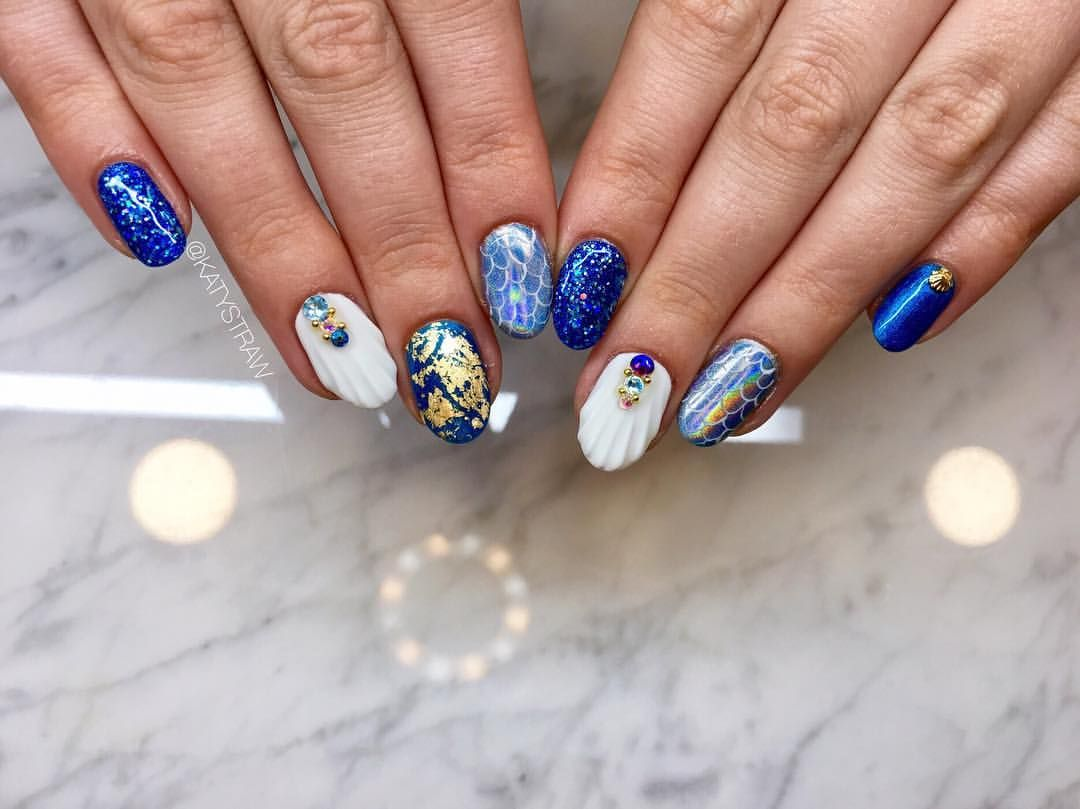 Mermaid Gel Manicure Free Hand Painted Nail Art With Gel Polish