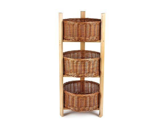 Retail Display Stands Wood Wicker Display Stands 3 Tier Round