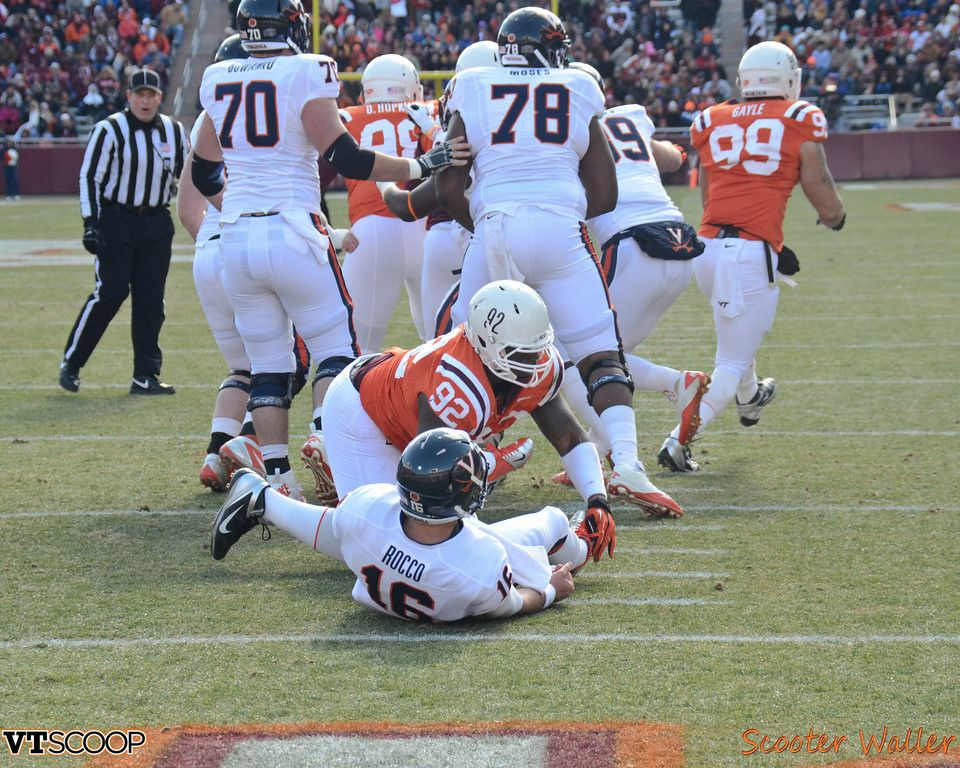 Virginia Tech S Luther Maddy Hits Virginia Quarterback Michael