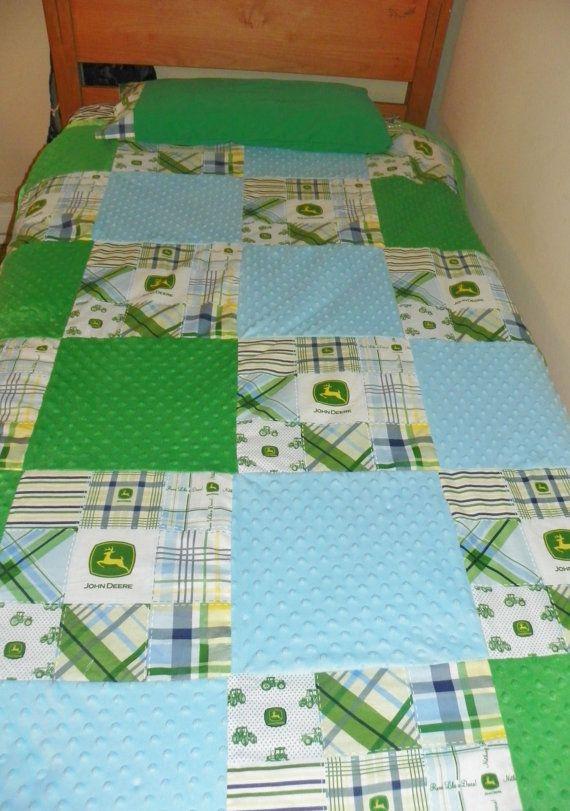 John Deere Twin Bed Comforter Quilt Blue Green Tractor Boy Bedding