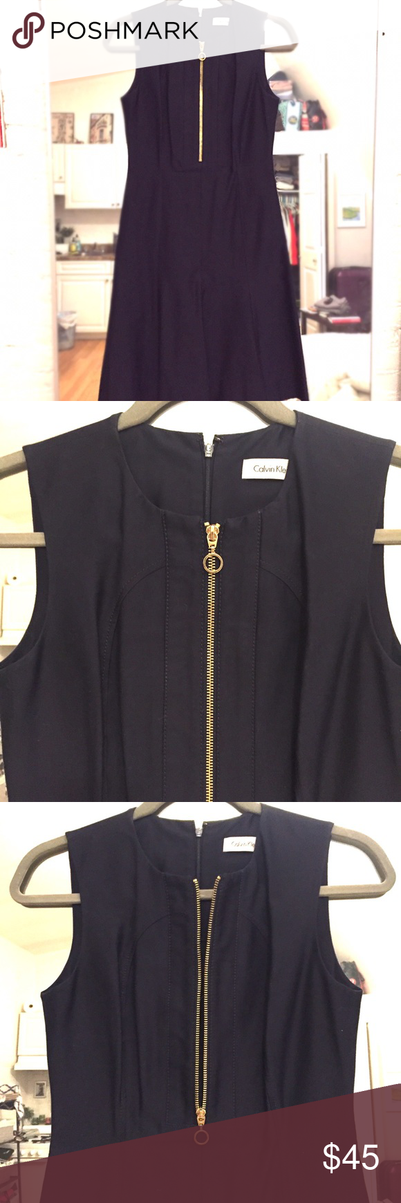 Calvin klein navy dress with gold zipper