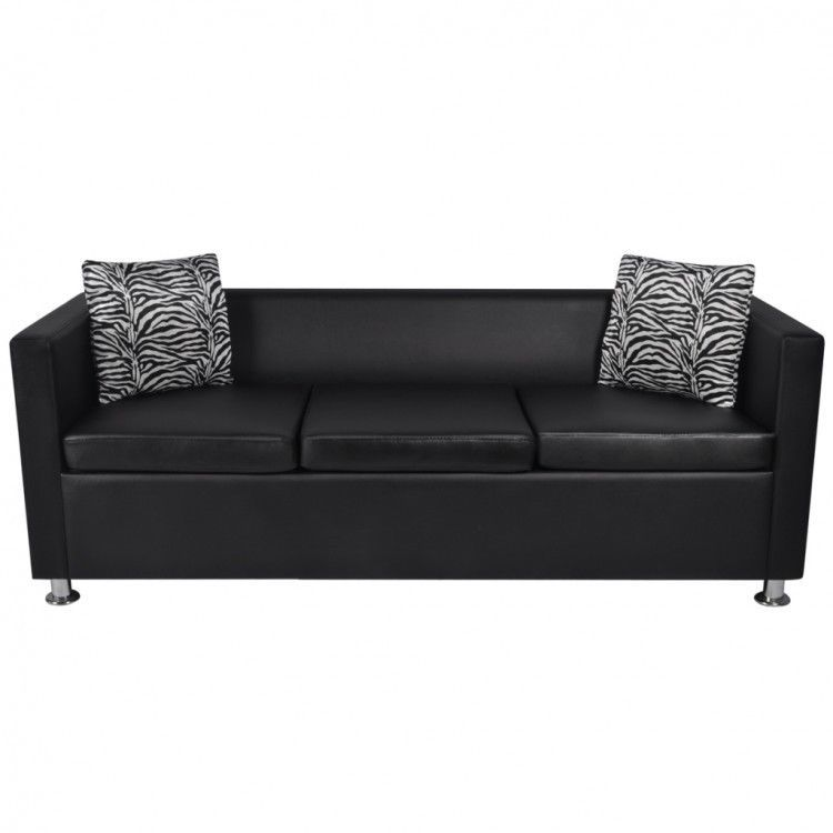 Black Faux Leather Sofa Pillows Set Sleeper Couch Home Office Furniture 3 Seater Leather Couch Faux Leather Couch Black Modern Sofa
