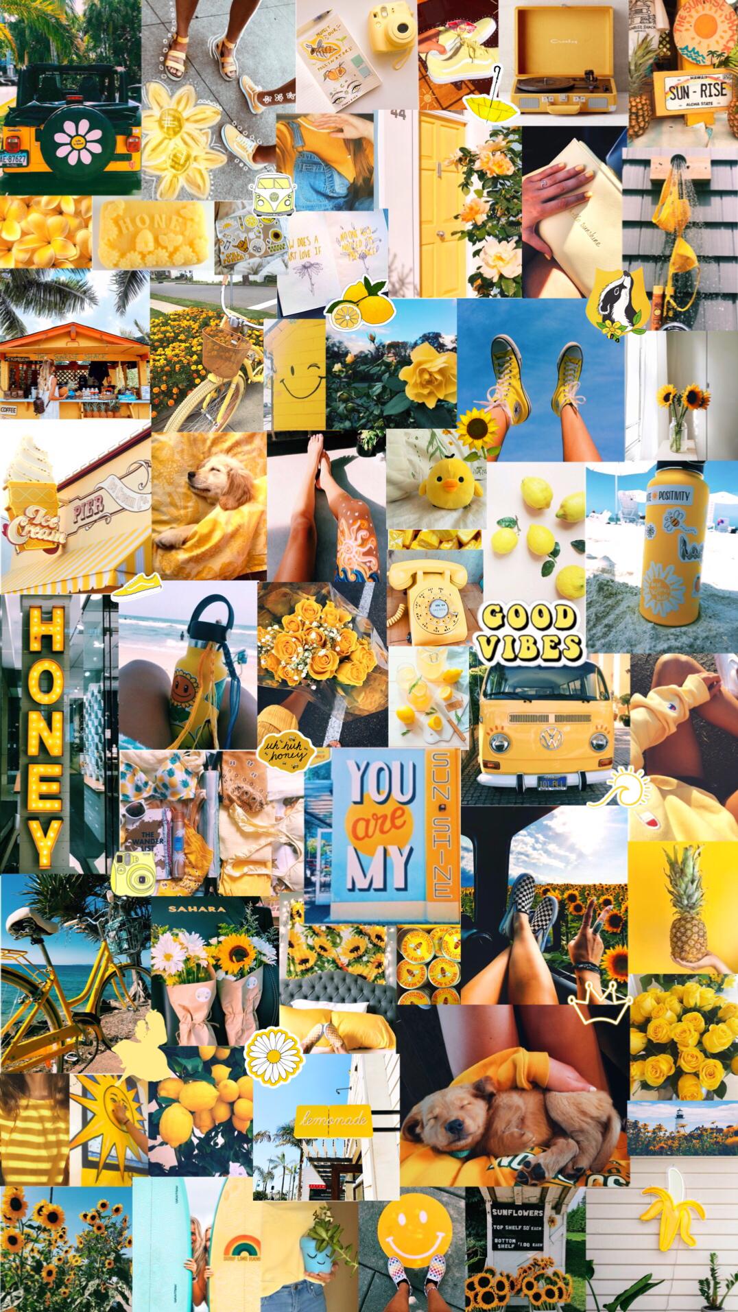 Yellow Aesthetic Background Warna Koral Kertas Dinding Seni Kolase
