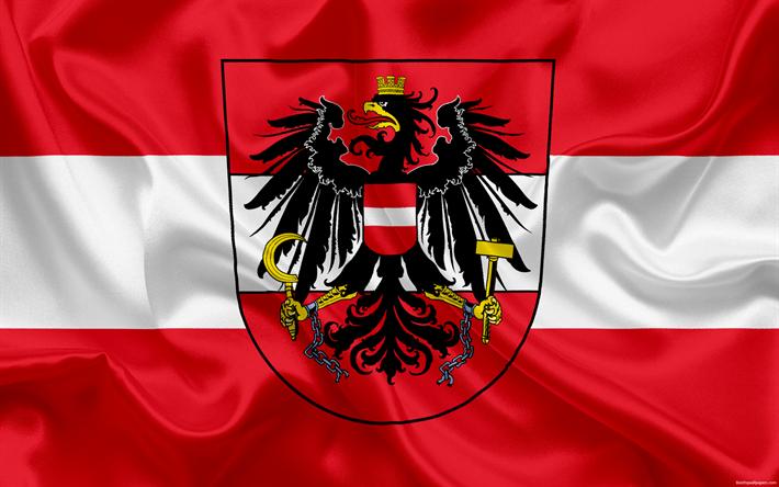Download Wallpapers Austria National Football Team Emblem Logo Flag Europe Flag Of Austria Football Besthqwallpapers Com Austria Flag Team Emblems Flag