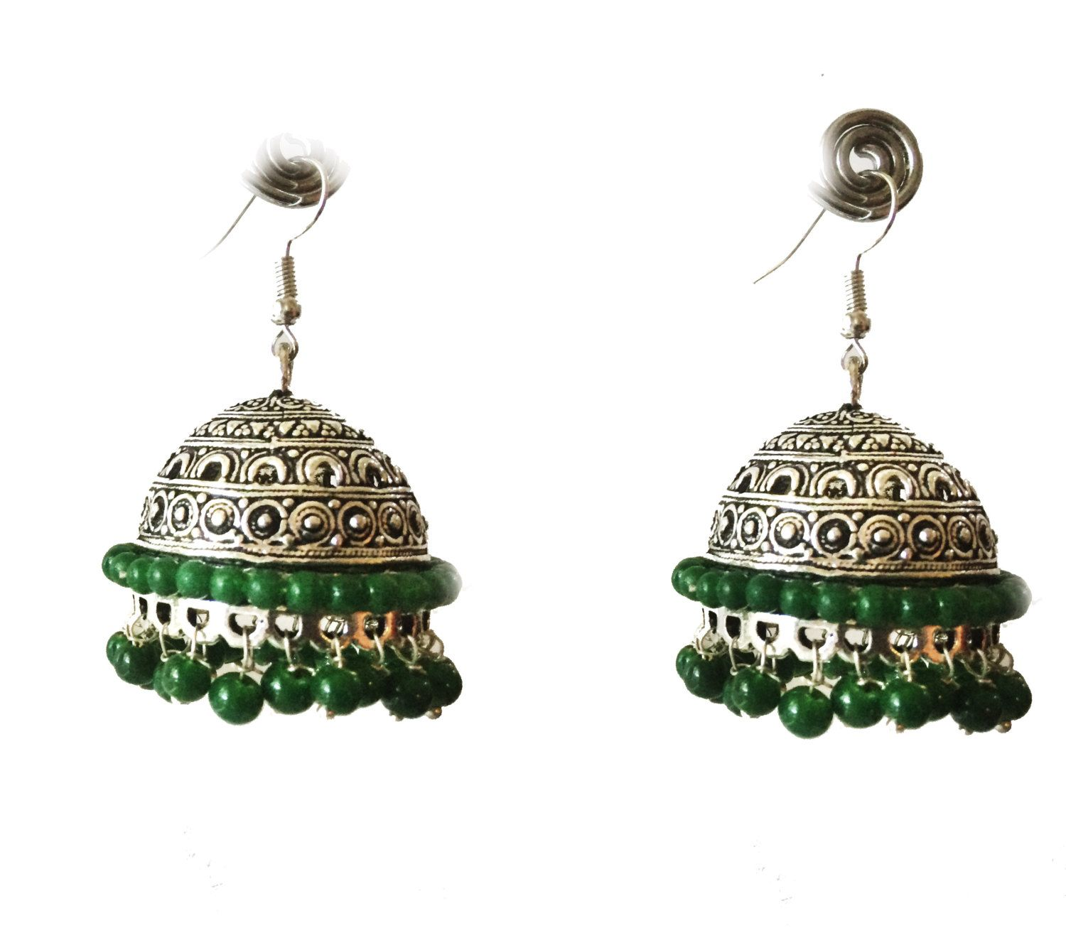SILVER Jhumka Earrings,Large Silver Jhumkas,Green & Silver Ethnic ...
