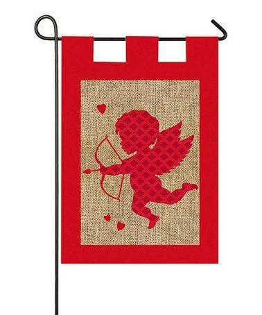 Burlap Valentines Day Garden Flag Cupid Red Burlap Flag Burlap Garden Flags Burlap