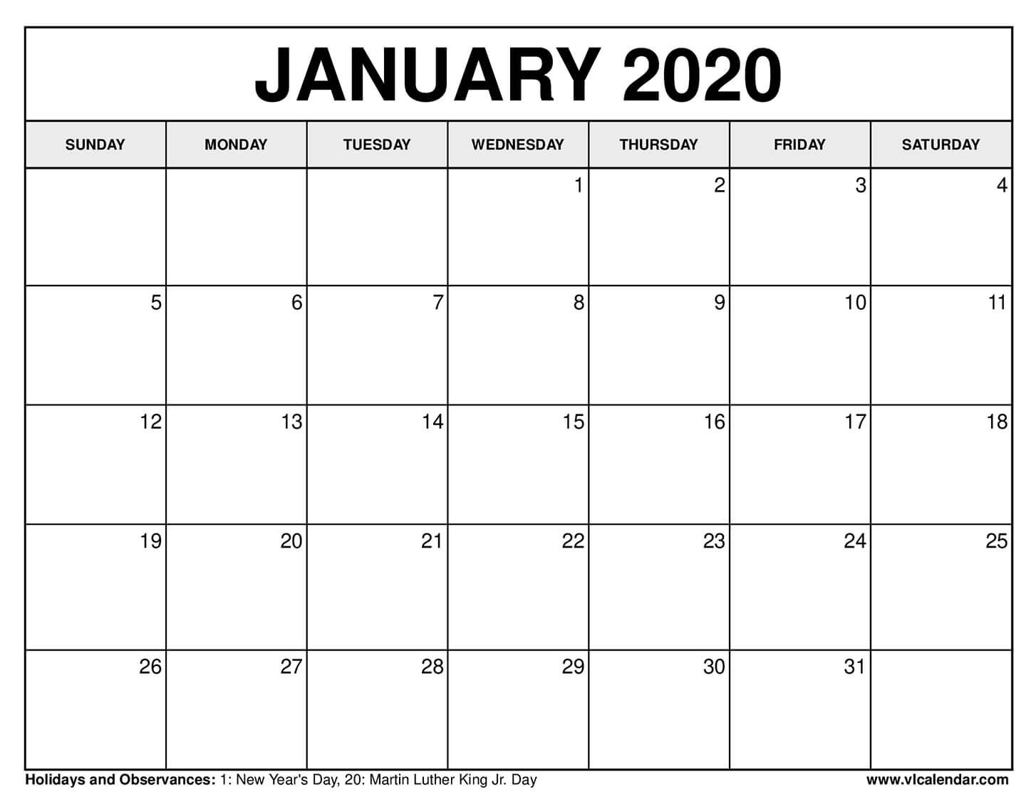 Printable January 2021 Calendars Free printable calendar