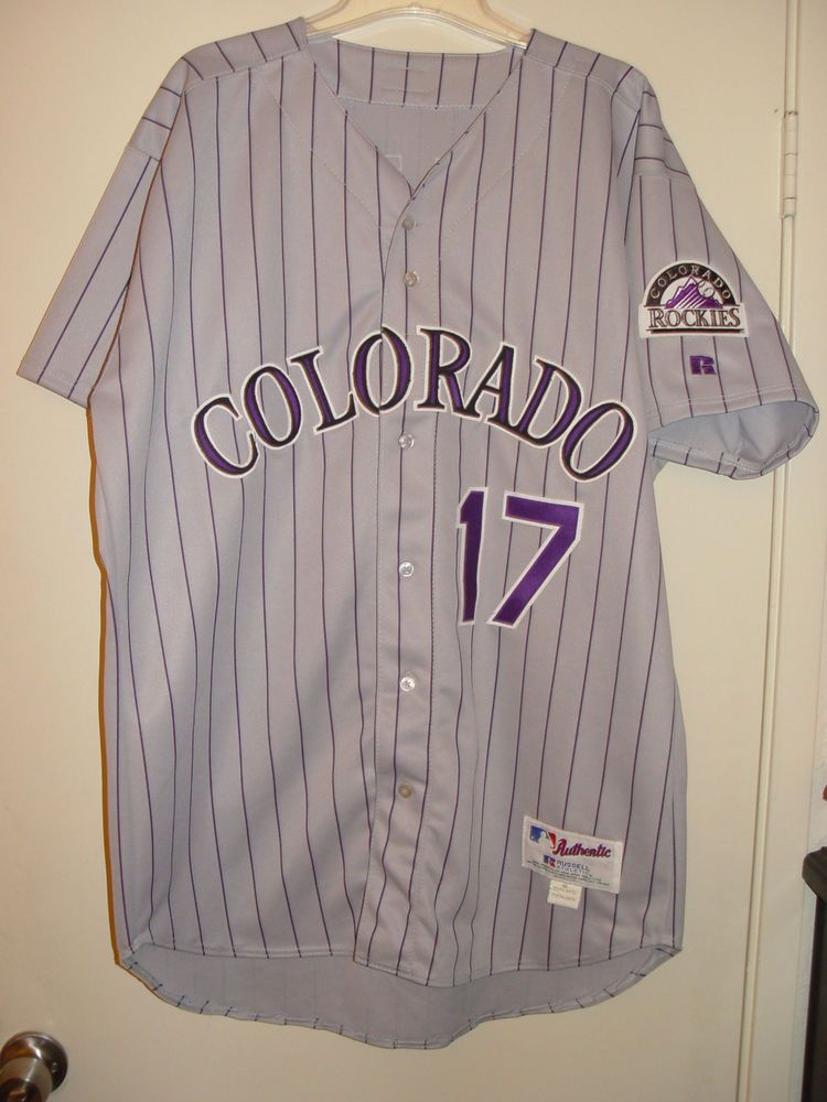 35006d1b7bf Game issued   Game Worn used 00-04 Todd Helton Rockies Rd gray jersey Sz 50  (eBay Link)