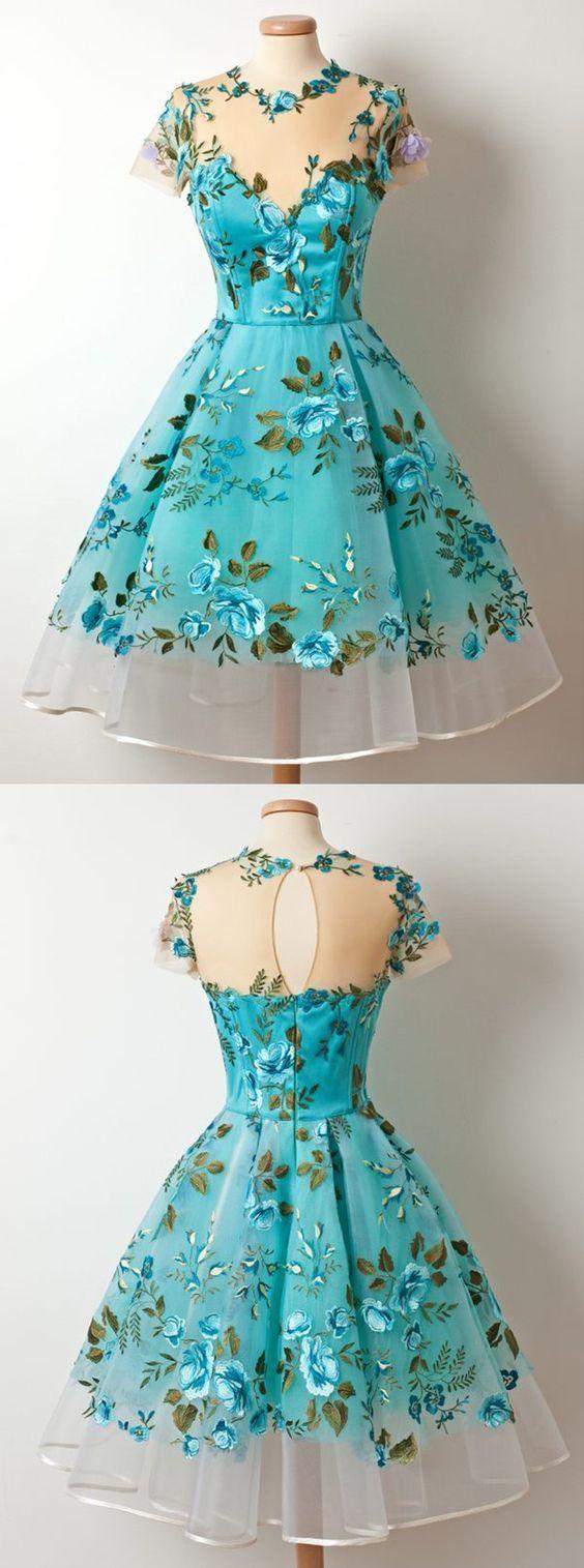 A-Line Jewel Tee-Länge, kurze Ärmel Blau Organza Ballkleid mit … - Kleider #kleidersale