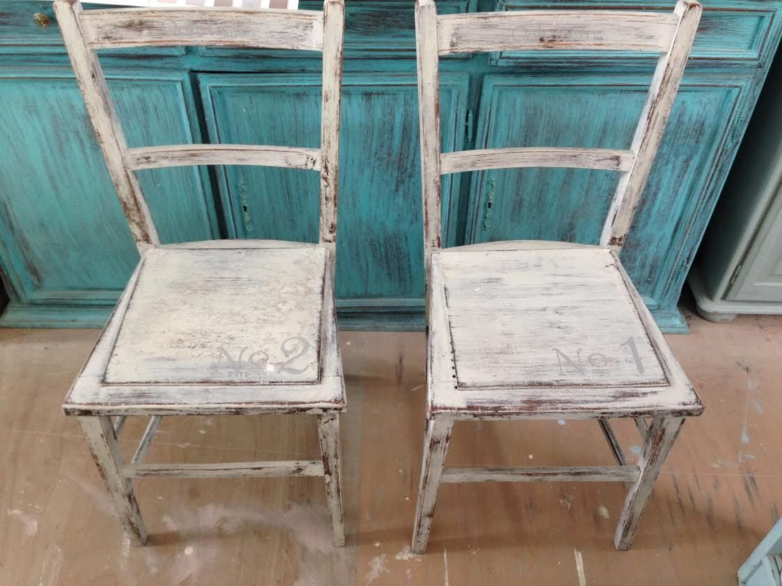 X2 AUTENTICO PAINTED SHABBY CHIC CHAIRS £45  -Both stencilled -Distressed -£45 for both -Autentico Chalk Painted.