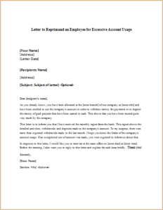 Letter To Reprimand An Employee For Excessive Account Usage