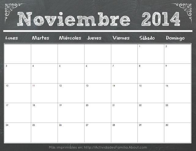 Calendarios 2014 con dise o de pizarra calendario noviembre 2014 calendarios pinterest - Pizarra calendario ...