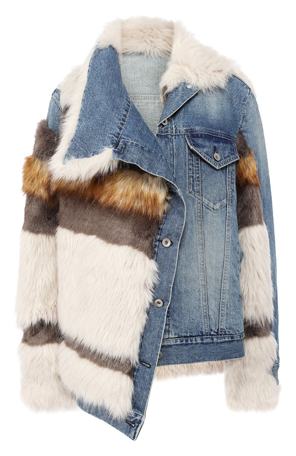 Джинсовая куртка с отделкой из эко-меха