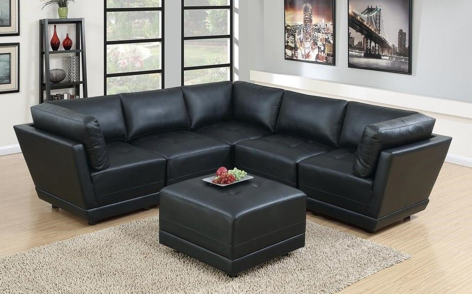 Poundex F802 6 Pc Clayton Ii Black Bonded Leather Modular Sectional Sofa In 2020 Sectional Sofa Modular Sectional Sofa Modular Sectional