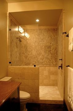 Small Bathroom Remodel With Doorless Shower Google Search - Tile shower designs without doors