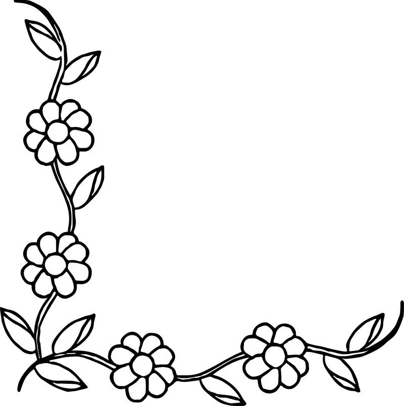 Flower Border Coloring Page Printable Coloring Pages For Kids In 2020 Flower Border Flower Doodles Flower Coloring Pages
