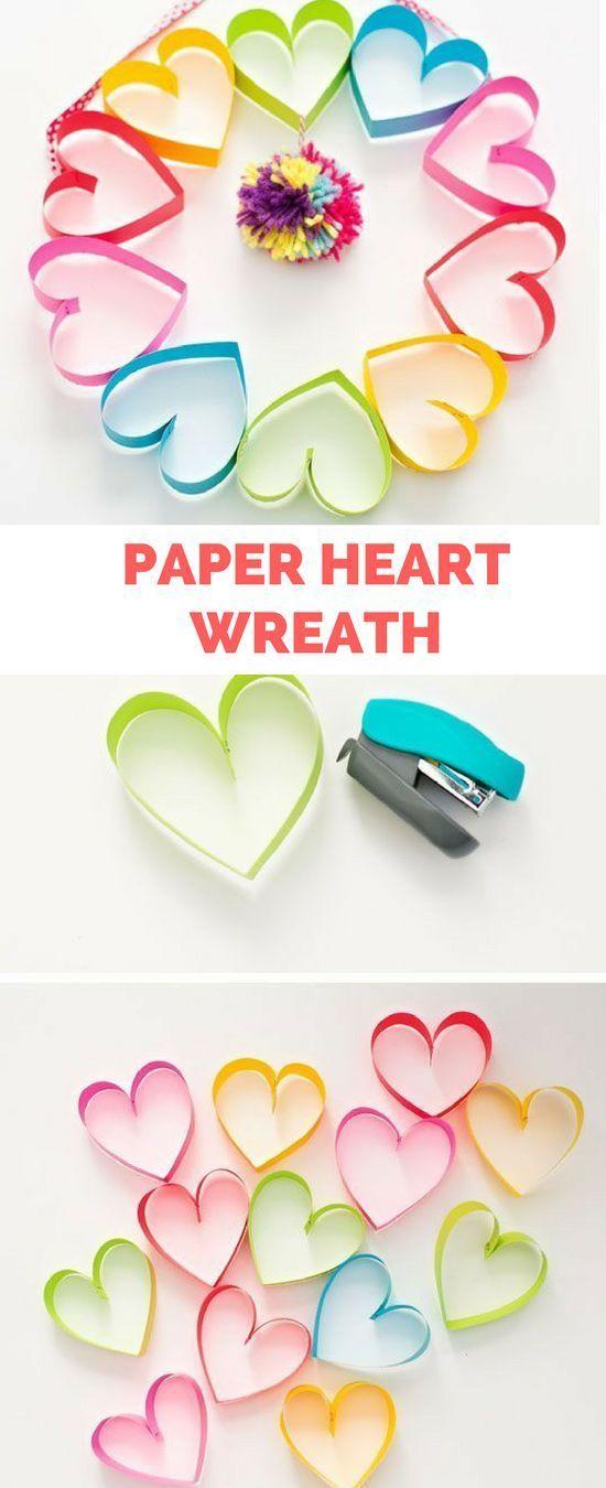 DIY RAINBOW PAPER HEART POM POM WREATH