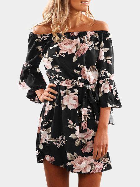 13e10be7775d Black Lace-up Design Floral Print Off The Shoulder Long Sleeves High ...