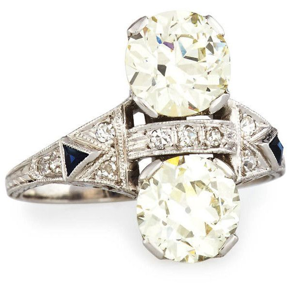 NM Estate Jewelry Collection Estate Art Deco Two-Stone Diamond Dinner... ($25,720) ❤ liked on Polyvore featuring jewelry, rings, triangle diamond ring, vintage filigree rings, filigree ring, art deco filigree ring and diamond band ri