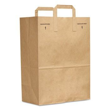 1/6 Bbl 70# Paper Bag, E-Z Tote Handle Sack, Brown, 300-Bundle