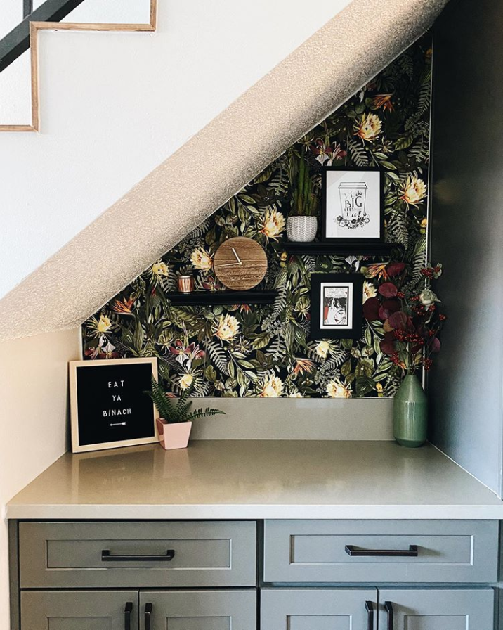 Tropical Flowers Peel And Stick Wallpaper Peel And Stick Wallpaper Room Visualizer Under Stairs