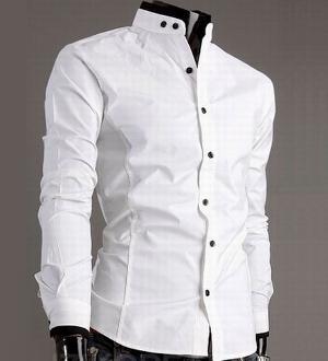 Men's Mandarin Collar Button-Up Shirt.   Pinterest for Men ...