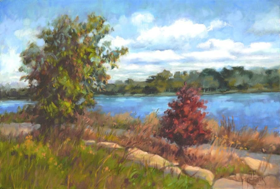 Guarding River Park by Suzanne Massion - oil painting | UGallery