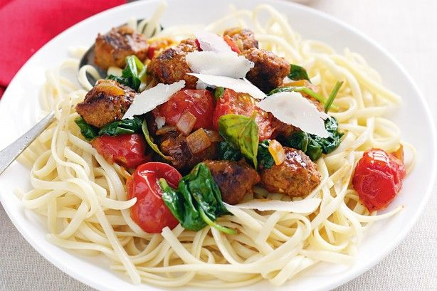 For a quick and easy pasta meal, sausage mince is a tasty alternative to conventional meatballs.