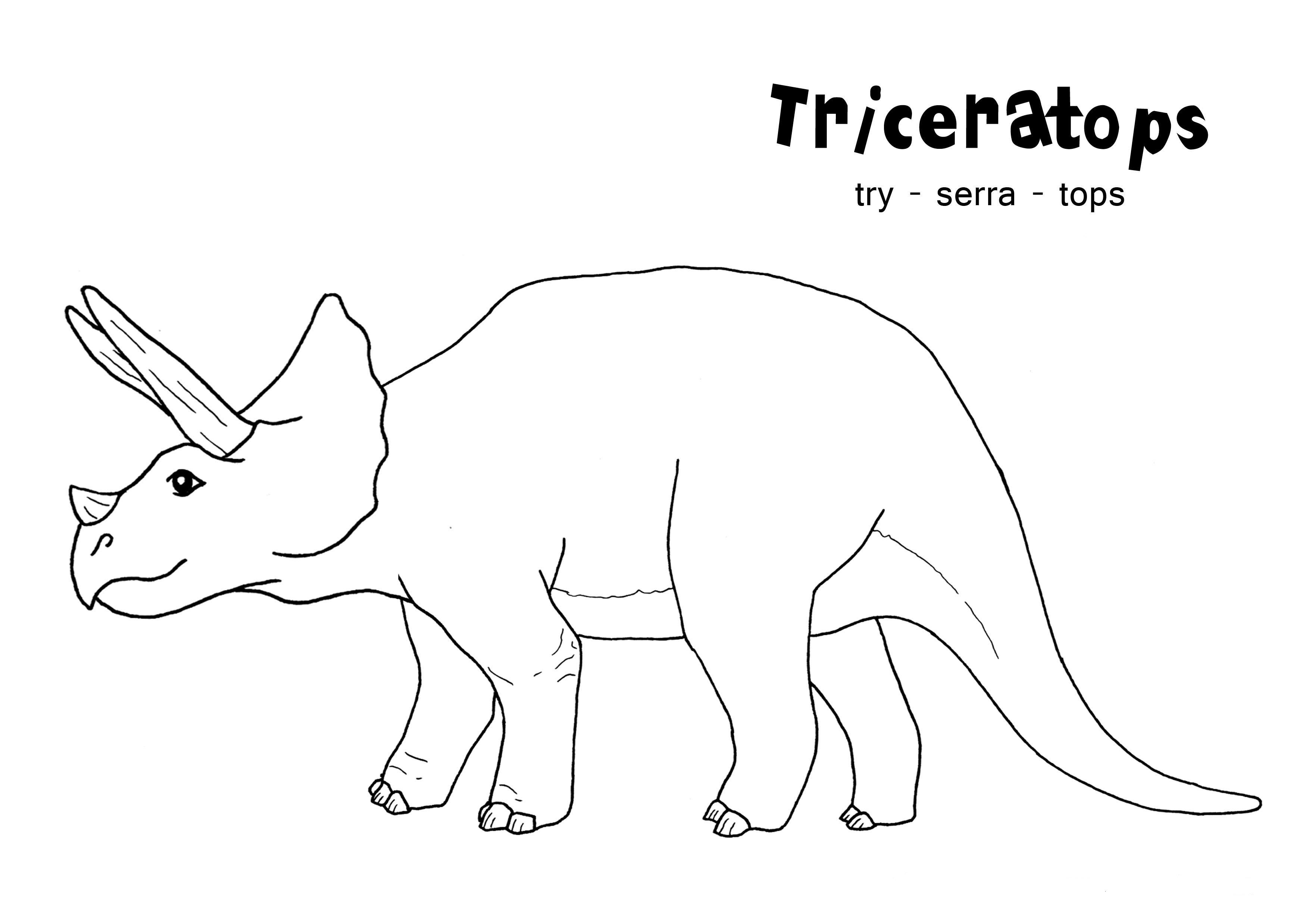 Animal Coloring Triceratops Coloring Pages Printable