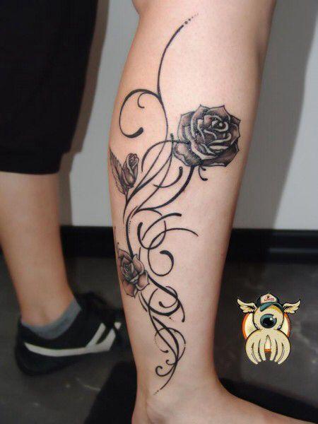Pantorrilla Flores Tatuaje Ludy Gerson Mujeres Tatuajes Tribales
