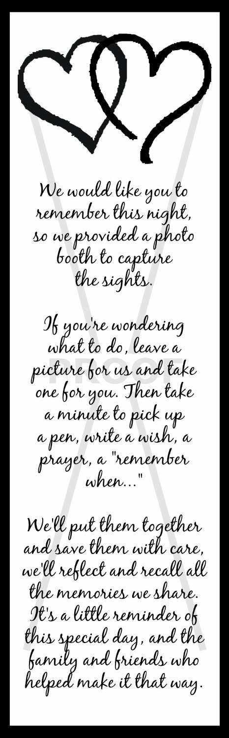 Poem for tables / photo booth | my wedding | Pinterest