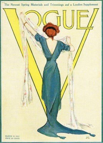 Vintage Vogue Magazine Cover Art,  March 1911.
